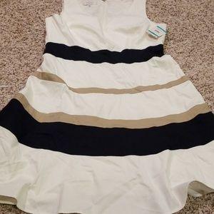Kasper Cream, Navy, and Tan Dress